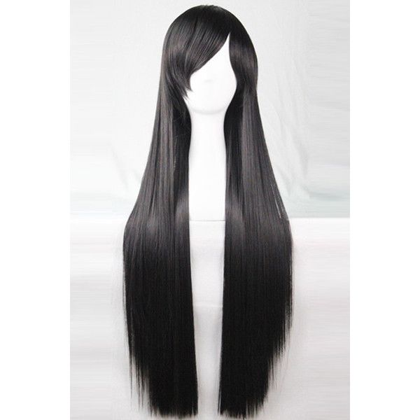 Black Harajuku Heat Resistant Long Straight Anime Cosplay Wig ($25) ❤ liked on Polyvore featuring beauty products, haircare and hair styling tools