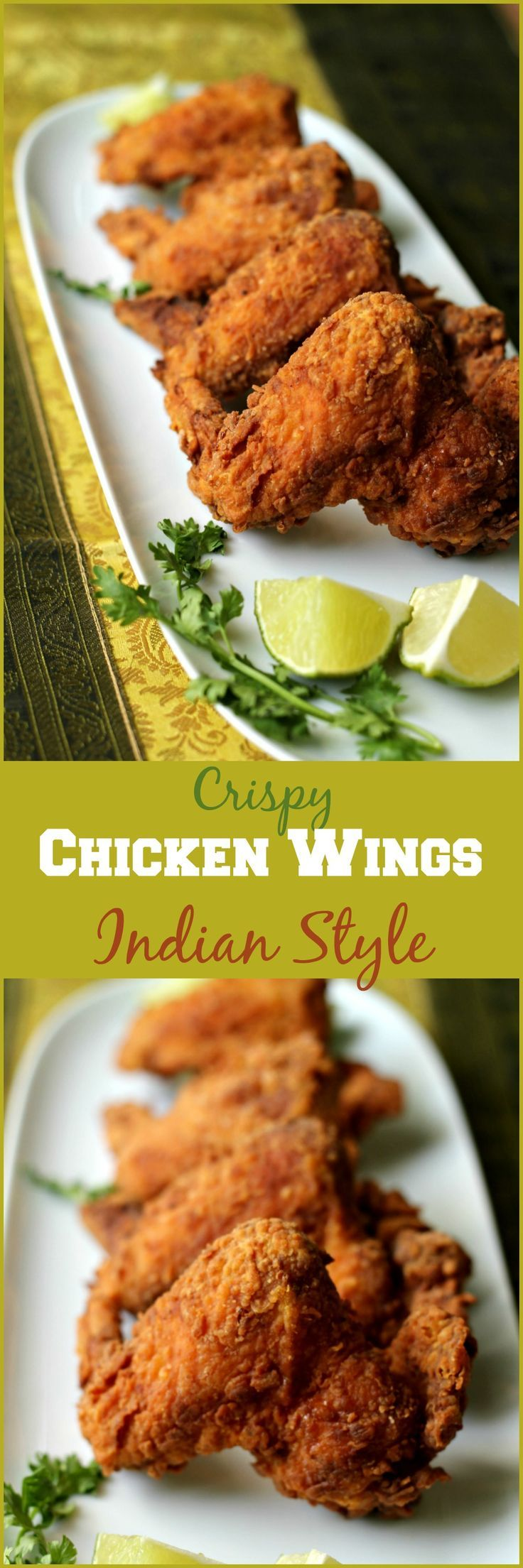 Super crisp, spicy & delicious! Desi (Indian) style chicken wings are sure to be a hit at any party! Serve them with a spicy green chutney or ketchup or a yogurt dip on the side!