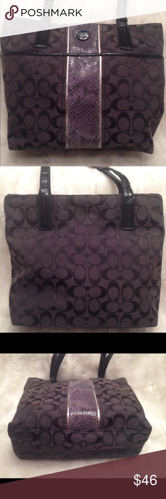 COACH Signature Python Stripe Shoulder Bag COACH#H1360-F25706. Clean liner. Good straps. No scuffs and snags. Has a real faint wear on the python print near zipper shown in pic. Measures 10x12 Coach Bags Shoulder Bags