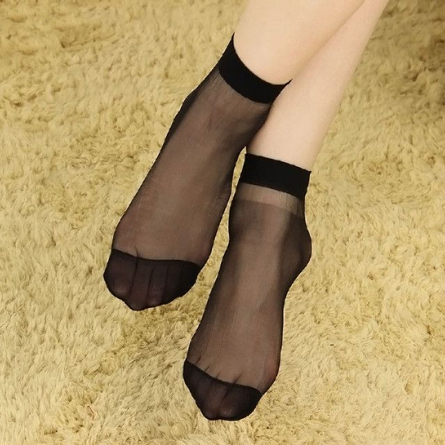 Amazing 10 Pairs/ lot Womens Short Sock Thin Transparent Crystal Silk Socks Women Lady Girl Summer Black Khaki Pure Color