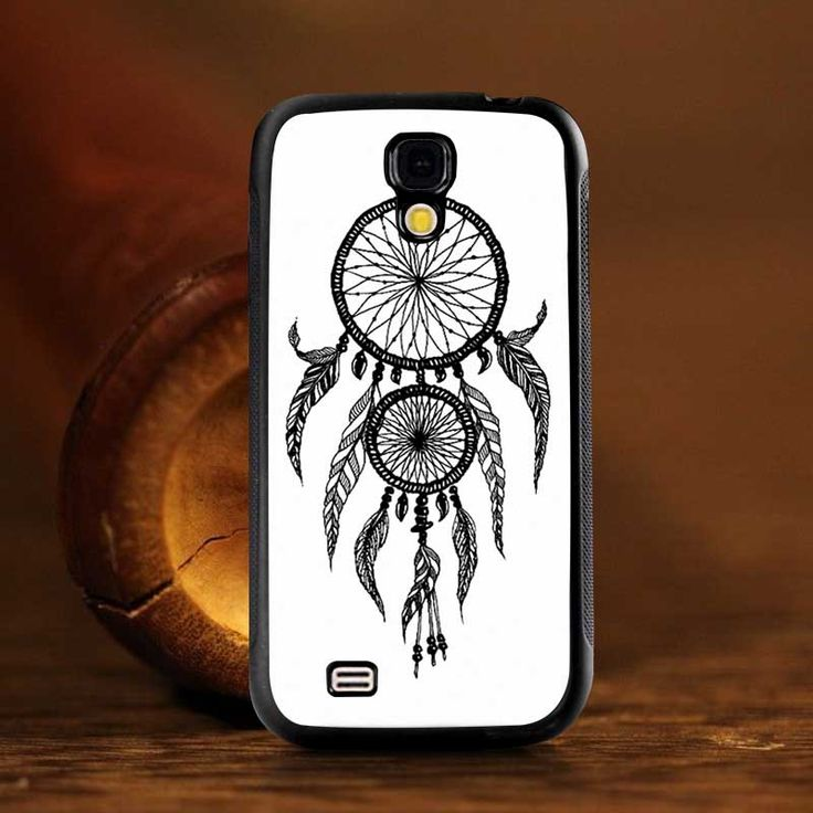 Simple Black Dream Catcher Simple Back Mobile Shell Soft Pouch Bags Rubber Cover Case for Samsung Galaxy S4