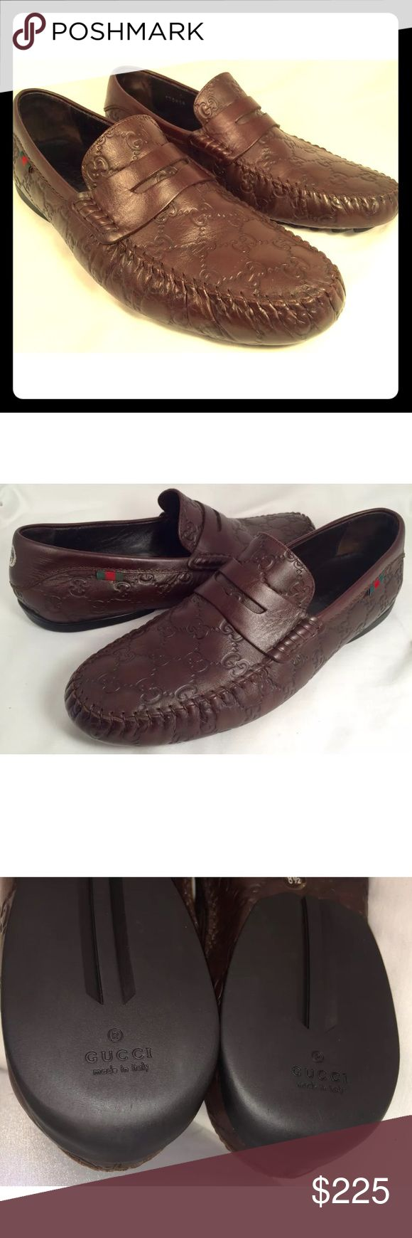 Authentic Gucci leather Guccisma driving loafers Authentic Gucci size European 8.5 us 9.5 brown guccisma genuine loafers, worn only ones in excellent condition with only light wear in the front bottom Gucci Shoes Loafers & Slip-Ons