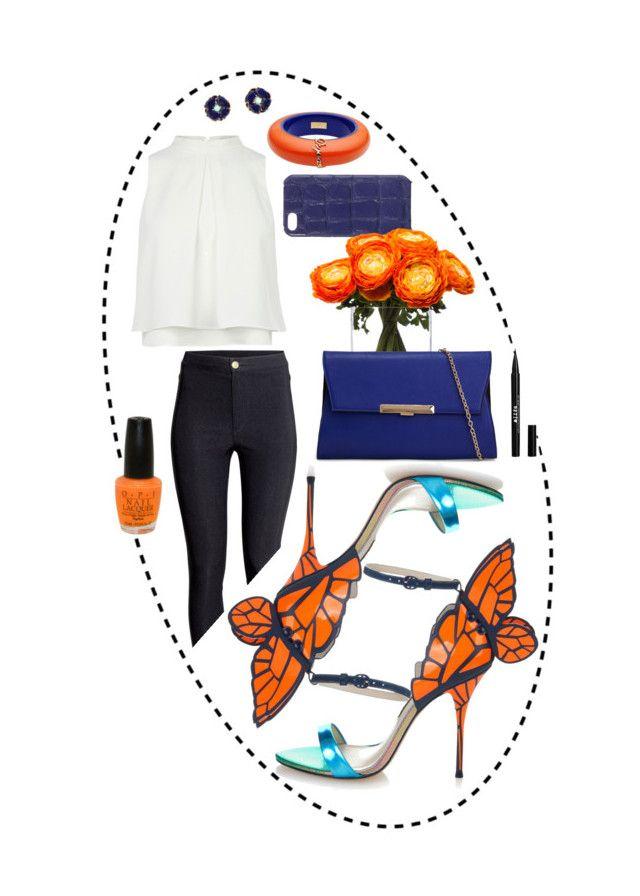 """#4 Blue & Orange"" by alzbeta-zlochova ❤ liked on Polyvore featuring moda, Sophia Webster, Dsquared2, The Case Factory, Lux-Art Silks, ALDO, H&M, OPI e Stila"