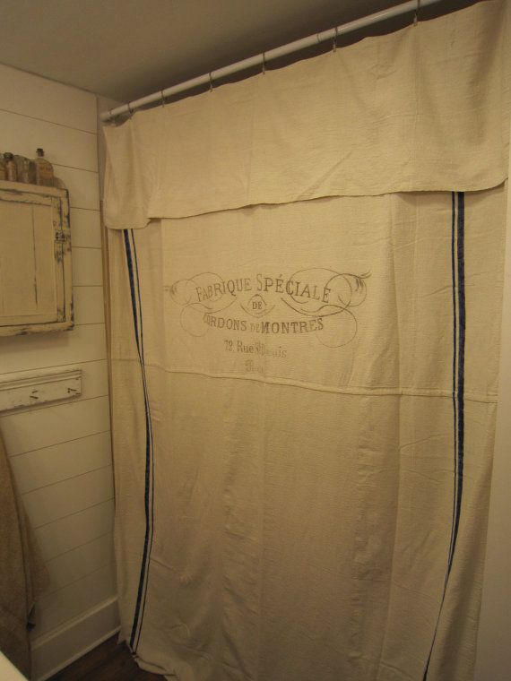 Grain sack Shower Curtain,  french shower curtain, farmhouse shower curtain
