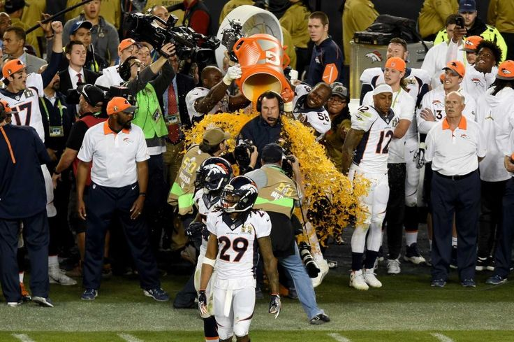 Head coach Gary Kubiak of the Denver Broncos is splashed with Gatorade in the final moments of Super Bowl 50 at Levi's Stadium on February 7, 2016 in Santa Clara, Calif.