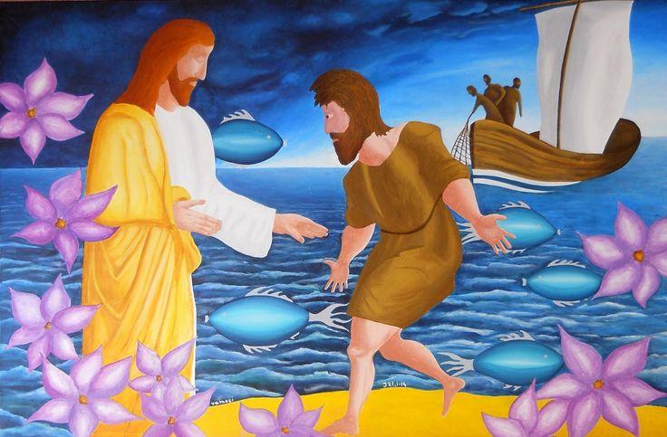 Gospel of John J 21.1-14, from artist Peter Vamosi, acrylic on canvas, 150 x 100 cm