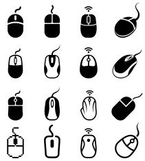 computer mouse black and white royalty free vector icon set vector art illustration