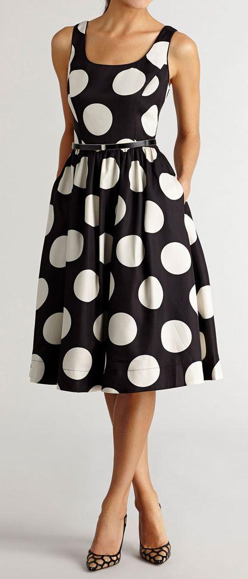 Dot midi polka dress. Black and white women fashion outfit clothing style apparel @roressclothes closet ideas