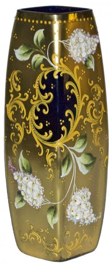 Moser Layered Flower square Cobalt Glass Vase.