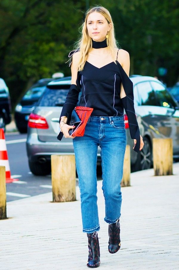 Cold-Shoulder Top + Cropped Jeans + Ankle Boots.