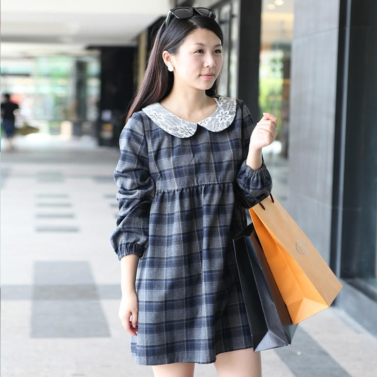 Pregnant women autumn jacket Korean woolen skirt big code of pregnant women doll collar winter Maternity Flax dress sub