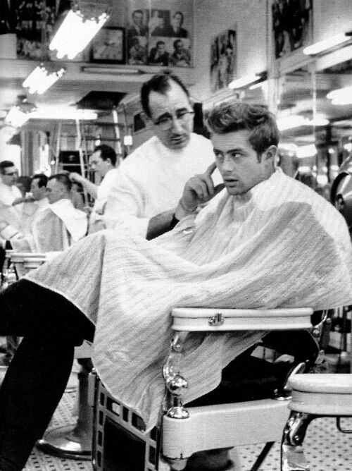 Great picture of James Dean at a barber shop. I think it was taken ...