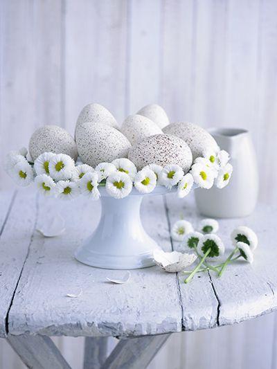 madeliefjes op een schaal eieren voor pasen. #easter #daisies #eggs