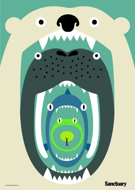 Food Chain Poster for Sanctuary Magazine, linking tree, frog, walrus and polar bear