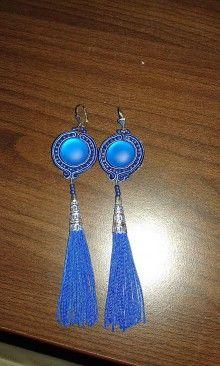 Náušnice - Náušnice so strapcom - modré - 7144998_