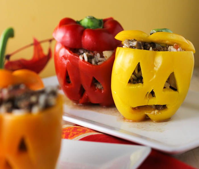 Delicious Halloween Stuffed Peppers made with brown rice.