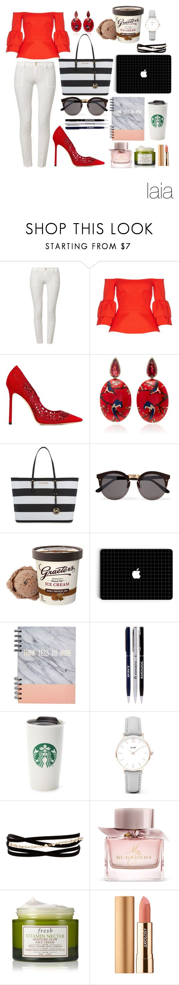"""Senza titolo #2181"" by mrsagati ❤ liked on Polyvore featuring LIST, Safiyaa, Jimmy Choo, Silvia Furmanovich, Michael Kors, Illesteva, CLUSE, Kenneth Jay Lane, Burberry and Fresh"
