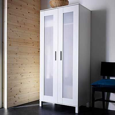 Discount Ikea White Wardrobe Armoire with Adjustable shelf and clothes rail Review