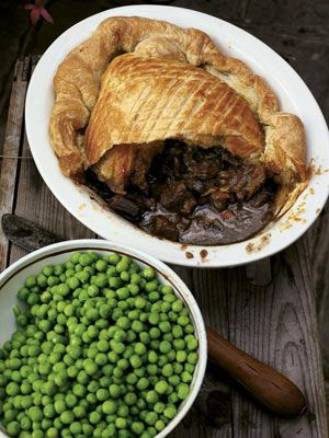 Steak, Guinness & cheese pie with a puff pastry lid