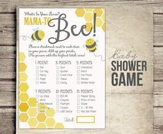 Bee Baby Shower Game  What's in Your Purse  by StudioTwentyNine, $5.00