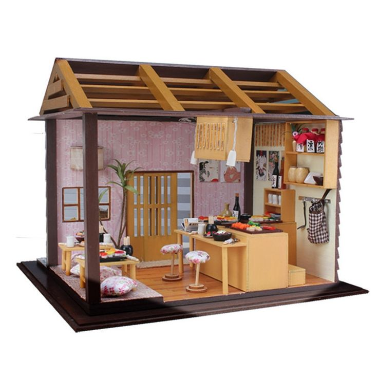 (46.49$)  Know more - http://aivn5.worlditems.win/all/product.php?id=32397984814 - Sakura Sushi Bar Japanese zakka style DIY Doll house 3D Miniature LED light+Wood&Metal assembled Handmade kit Building model
