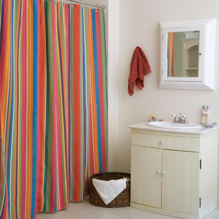 multi colored striped shower curtain