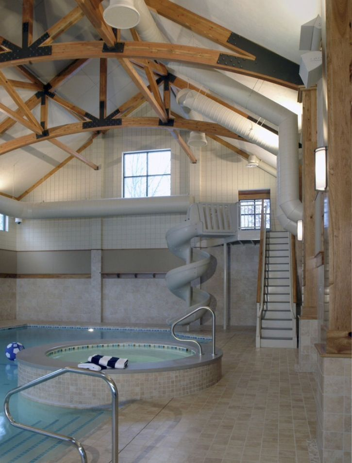 Indoor pool and hot tub with a slide  Indoor pool, hot tub and water slide. | House ideas and such ...