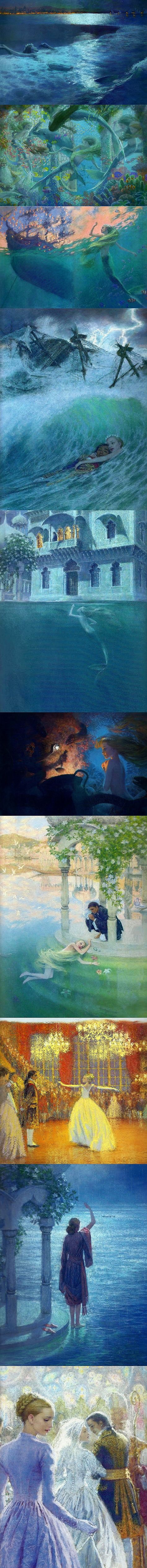 "The Little Mermaid | La douleur exquise – French: literally ""exquisite pain"", the heart-wrenching pain of wanting someone you can never have. Art by Christian Birmingham"