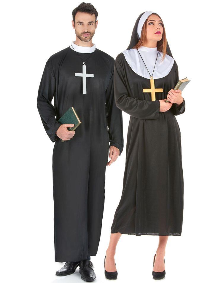 Déguisement couple de religieux : Déguisement homme :Ce déguisement de prêtre homme comprend une robe de couleur noir avec un col blanc (bible et croix non inclus). Déguisement en taille unique...