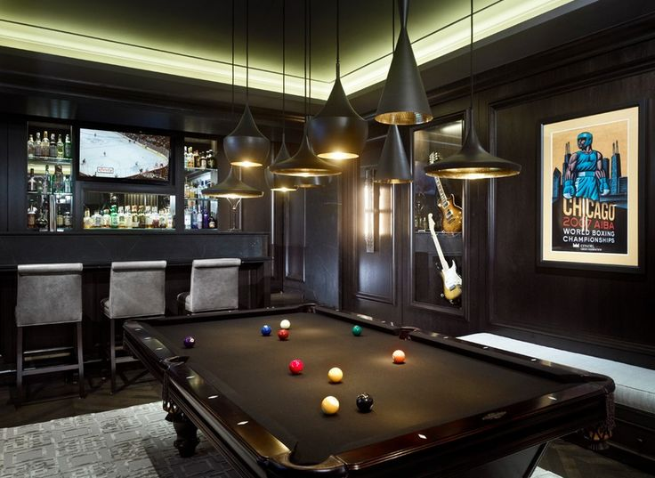 Dark billiards room BilliardFactory.com
