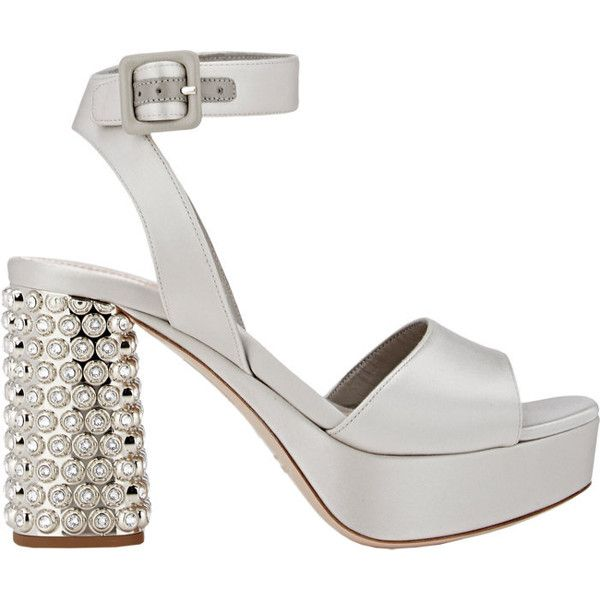 Miu Miu Women's Embellished-Heel Ankle-Strap Sandals ($399) ❤ liked on Polyvore featuring shoes, sandals, grey, light grey, ankle strap sandals, ankle wrap sandals, chunky heel sandals, embellished sandals and high heel shoes