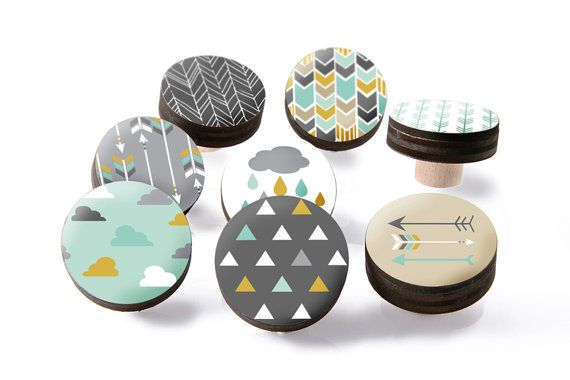 Scandinavian drawer knobs in pretty shades of grey,mint and yellow mustard. Dresser Drawer Wooden Knobs with a glossy printed finish perfect for Kids
