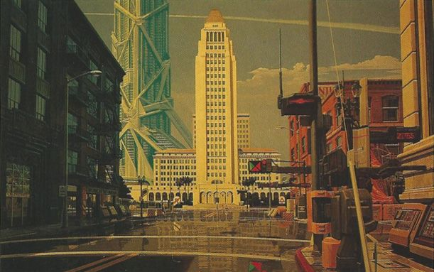 One of Syd Mead's renderings of L.A. in 2013 from a 1988 article in the L.A. Times Magazine || In present day Shenzhen a building is being constructed that looks very similar to the megaskyscraper in the background of this image.