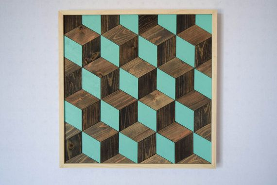 Wood Wall Art Hanging - Wall Art - 3D Cube Optical Illusion Design - Modern Home Decor - Minimalist Art - Abstract Art