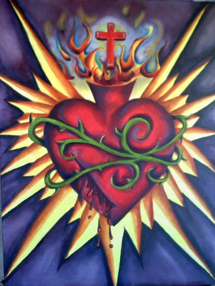 sacred heart - something like this but with 3 drops of blood for the Holy Trinity