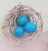 Silver wire and beads to create a nest.