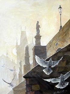 Gallery of artist Yuriy Shevchuk: Oil Cityscape Paintings, Prague Morning on the Charles Bridge