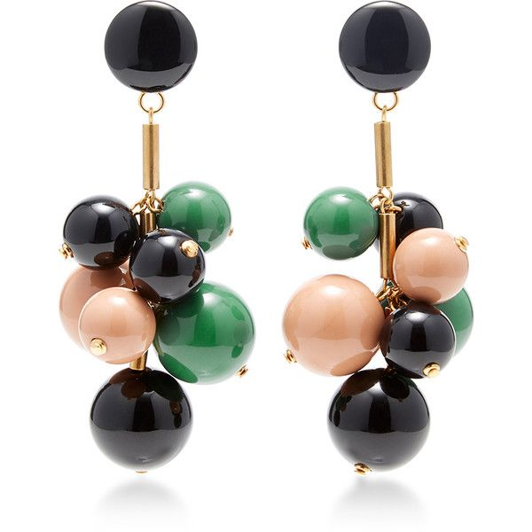Marni Beaded Drop Earrings (12.100 CZK) ❤ liked on Polyvore featuring jewelry, earrings, green, beading jewelry, green jewelry, bead jewellery, marni and marni jewelry