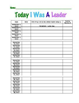 Today I Was A Leader - Take Home Behavior Chart - The Teacher With The Tarantula - TeachersPayTeachers.com