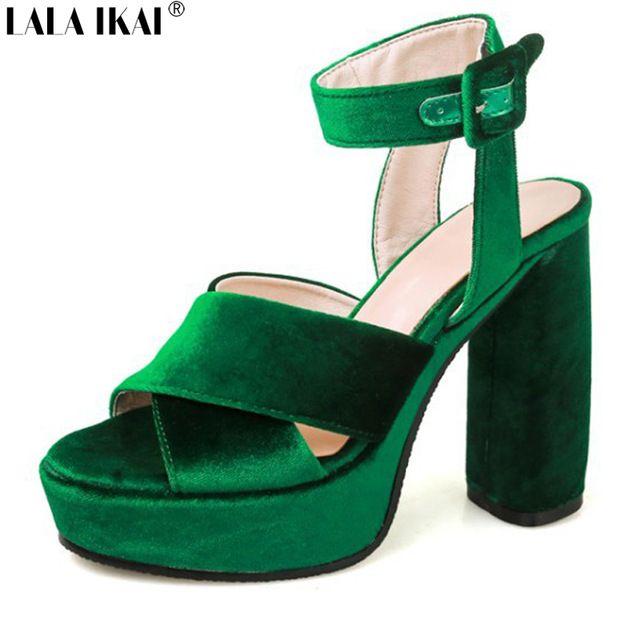 LALA IKAI Мода Бархат Открытым Носком На Высоком Каблуке Женщин Сандалии Квадратный Каблук Свадебные Туфли На Платформе Обувь Тенис Feminino XWF1092-5