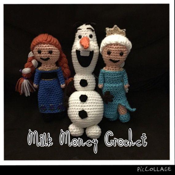 Frozen crochet Set Elsa Anna & Olaf von MilkMoneyCrochet auf Etsy