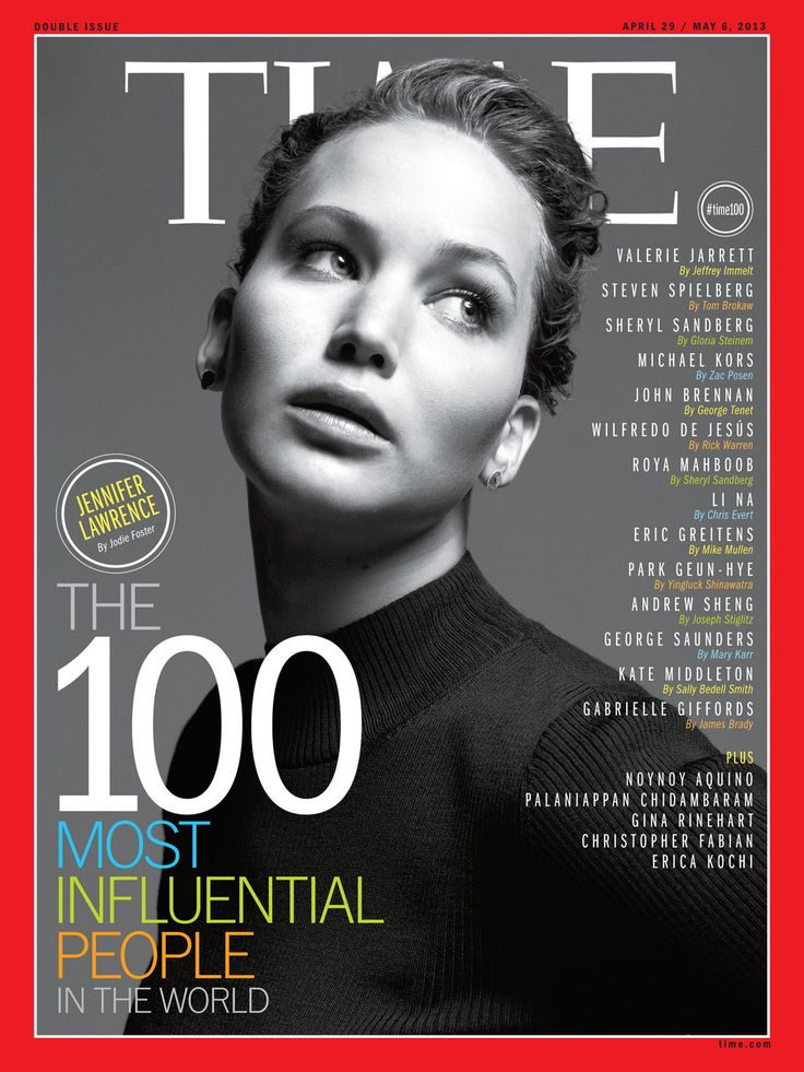 Jennifer Lawrence on the cover of TIME Magazine's 100 Most Influential People issue, April 29 / May 6, 2013