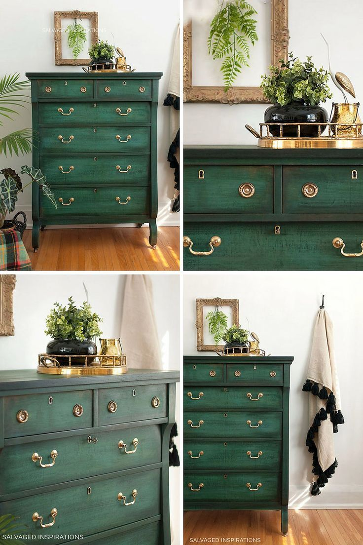 Layered chalk painted chest of drawers – collage