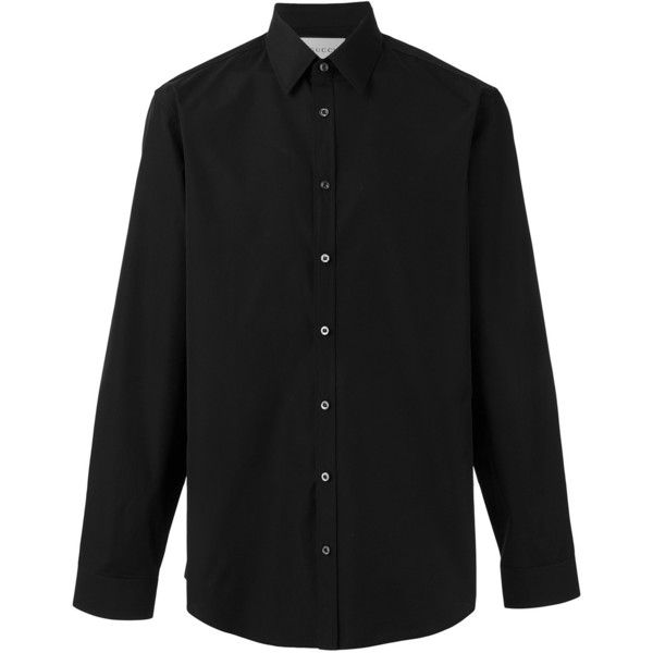 Gucci poplin Duke shirt ($320) ❤ liked on Polyvore featuring men's fashion, men's clothing, men's shirts, men's casual shirts, black, mens poplin shirt, mens long sleeve casual shirts, mens button front shirts, mens collared shirts and men's curved hem t shirt
