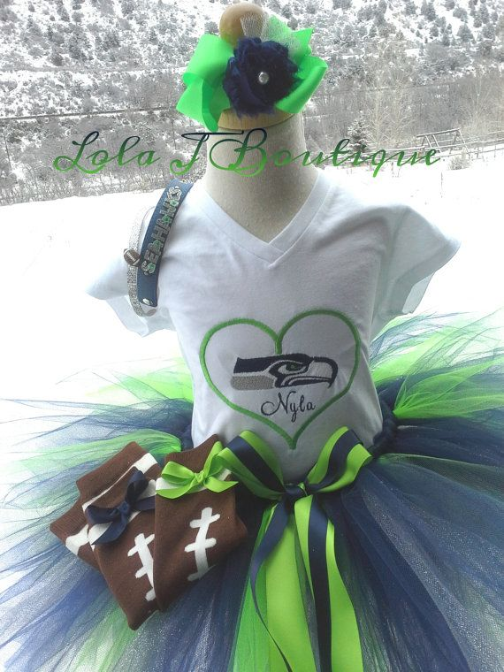Love Seattle Top Leg Warmers SET- ALL Children Sizes Embroidered Girls Tops NFL Seahawks Infant Toddler Long Short Sleeve Football Laces
