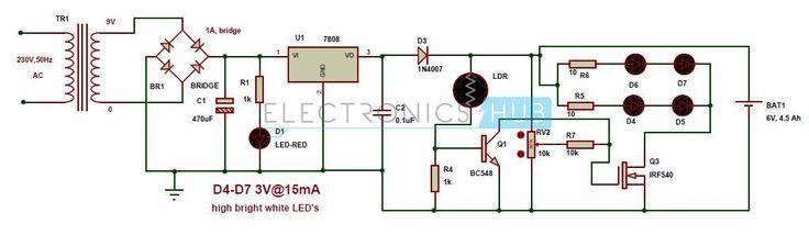 Automatic LED Emergency Light Circuit using LDR