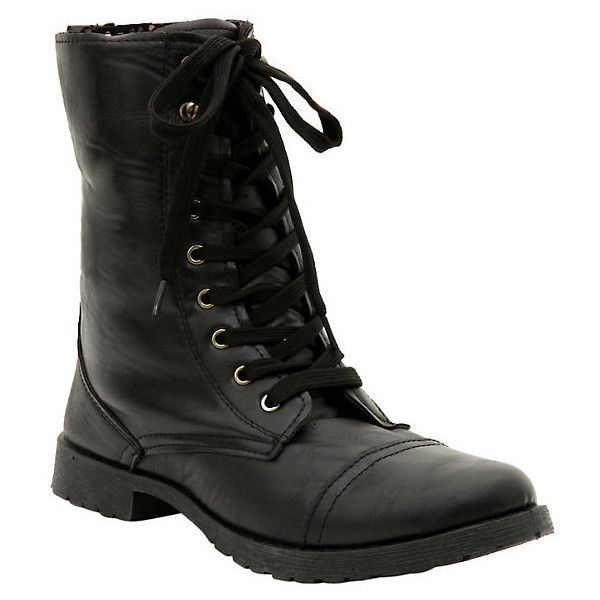 Black Floral Lined Combat Boot Hot Topic ($32) ❤ liked on Polyvore featuring shoes, boots, laced up combat boots, lace up boots, military style combat boots, combat booties and lacing combat boots