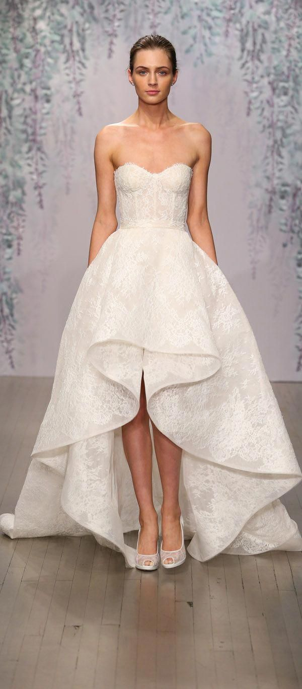 Monique Lhuillier Strapless Sweetheart Lace Wedding Dress With High