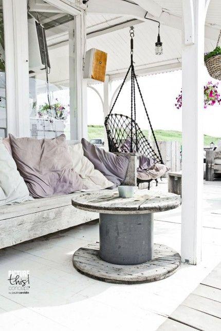 stolik na balkon ze starej szpuli po kablach,meble z recyklingu na ...
