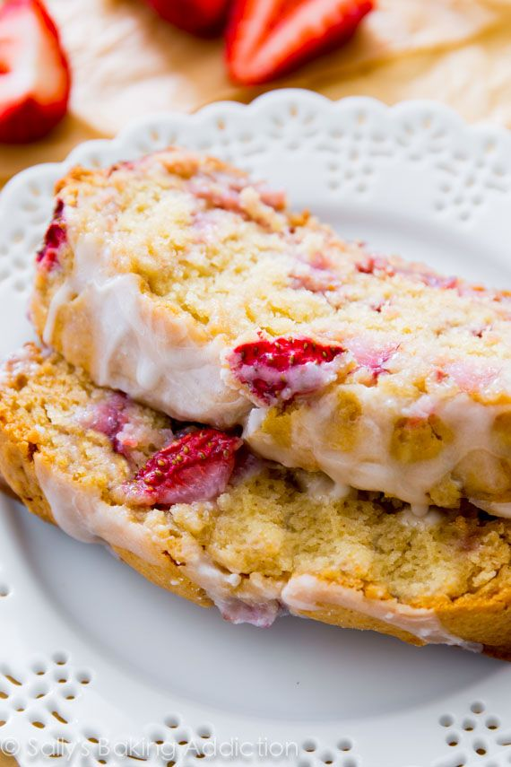 Super-moist Glazed Strawberry Bread - bursting with flavor and so simple to make any time of year! Recipe by sallysbakingaddiction.com